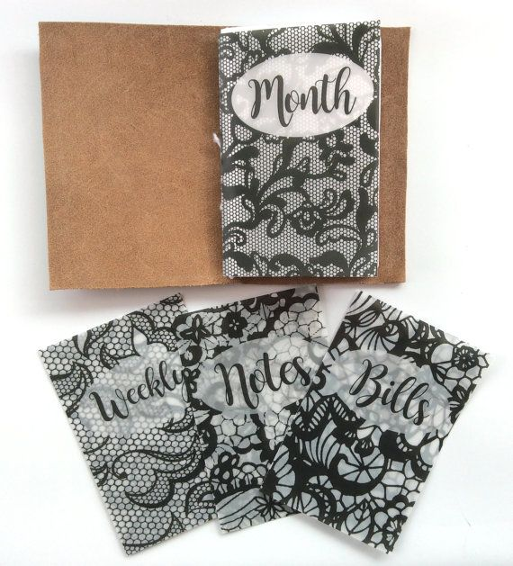 Black Lace Vellum Planner Dashboards For TNs and Midori Travelers Notebook V112  This set is done in a super chic black lace! Add a splash of style to your travelers notebook! These dashboards are done in a thick vellum so they hold up really well. You can choose the stock wording pictured above or if you have custom text you want just leave the text you want along with which patter you want it on in the notes to seller during checkout. You can also order all of one pattern. In the color…