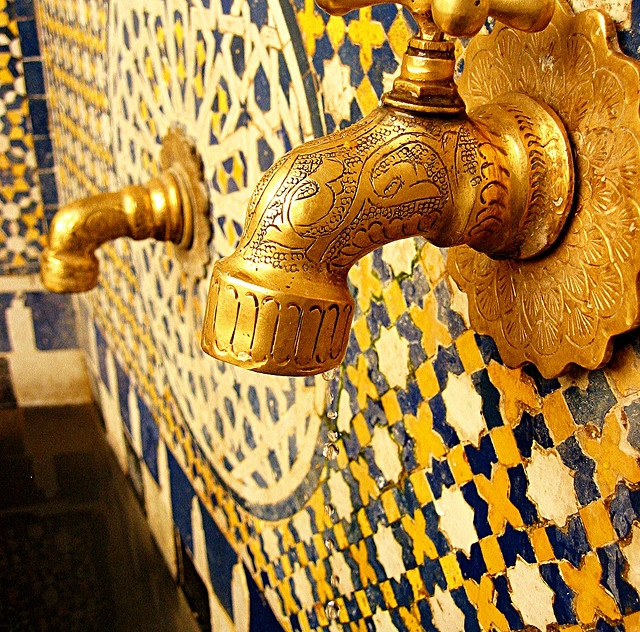 """""""As many homes in the Fez Medina don't have running water, residents rely on the many taps around the streets and alleys. This was one beautiful example I stumbled upon."""" - Chris Cummaudo (Coffee Bliss)"""