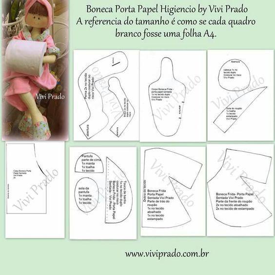 Molde boneca porta papel higiênico