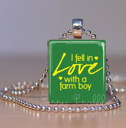 I Fell In Love WIth a Farm Boy John Deere by SassyScrabble on Etsy, $7.95