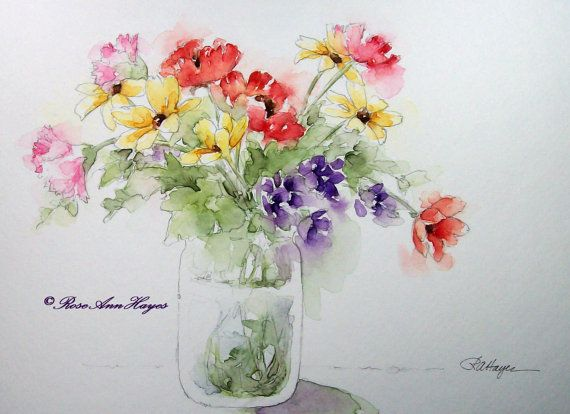 Watercolor Painting of Flowers Floral Print por RoseAnnHayes