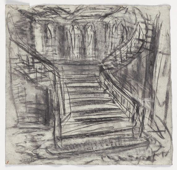 Leon Kossoff Midland Hotel Staircase, 2005 charcoal on paper 21 3/4 x 22 3/4 in. (55.5 x 58 cm)