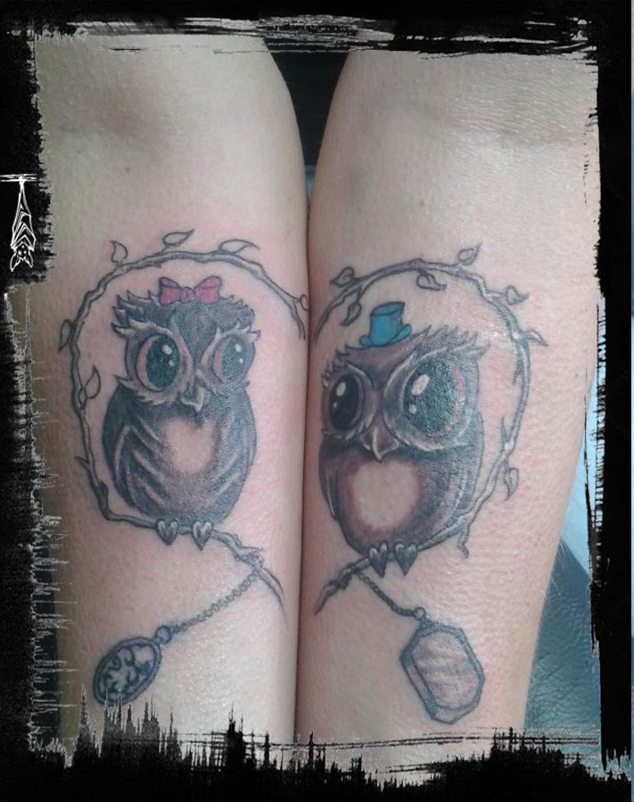 cute owls comic  süße Eulen mit Herz