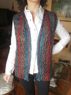 Finished vest made on the shaped loom