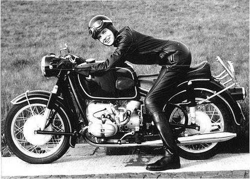 anka-eve goldmann on a 1960s era r69 bmw motorcycle | vintage