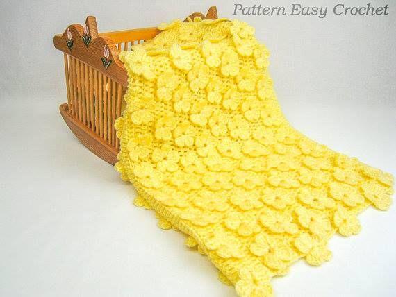 sarı çiçek bebek battaniye örgüsü