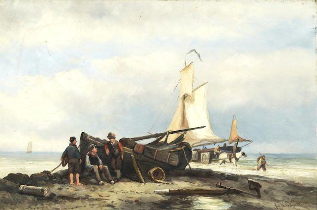 Johannes Hermanus Barend Koekkoek (Dutch, 1840-1912) Fisherfolk on the shore