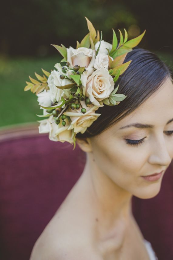 Rose floral crown. Who needs a veil?