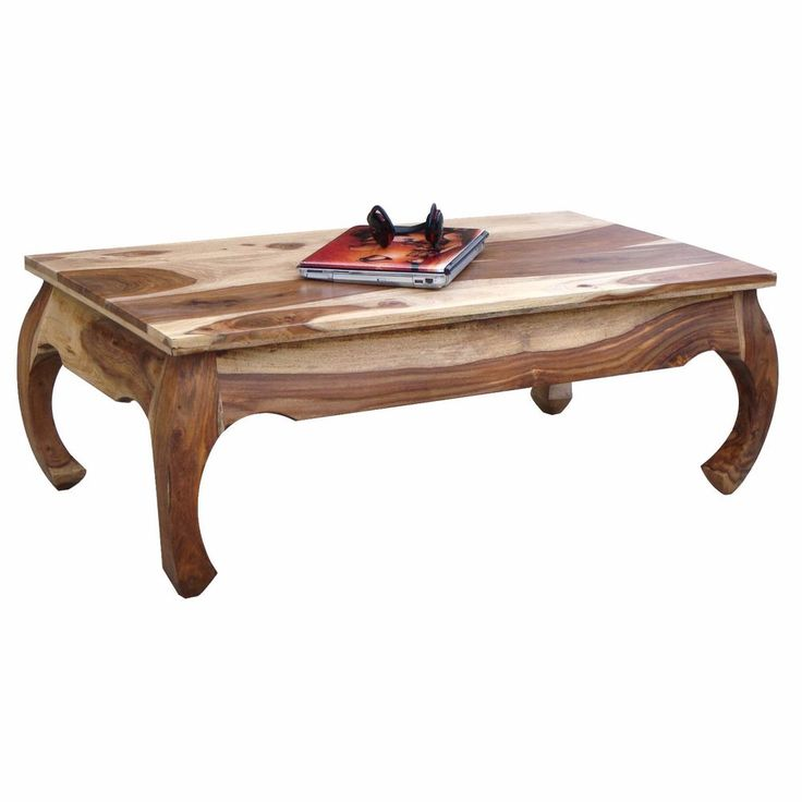 Wooden Coffee Table Handmade Living Room Furniture Curved Legs Two Tone Finish