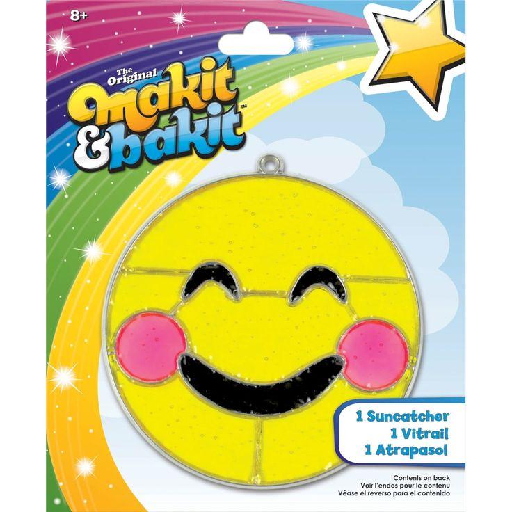 Colorbok Makit & Bakit Suncatcher Kit-Emoji Blushing - emoji blushing
