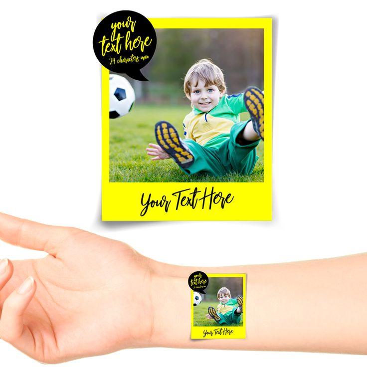 Yellow Polaroid Photo Personalised Tattoo #1179 (20 pack)