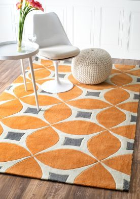$5 Off when you share! Radiante Trellis BC55 Deep Orange Rug | Contemporary Rugs #RugsUSA