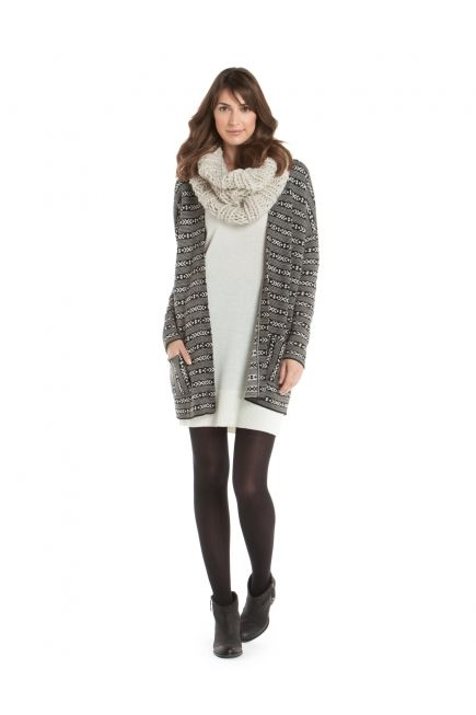 JACOB - CHUNKY INFINITY SCARF + PRINTED OPEN CARDI WITH POCKETS http://www.jacob.ca @Boutique JACOB and #JACOBGIFTS