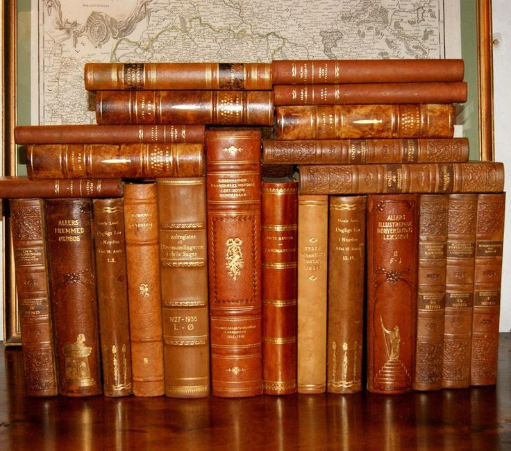 23 BEAUTIFUL ANTIQUE LEATHER BOUND BOOKS - GOLD DECOR - SHABBY PATINA
