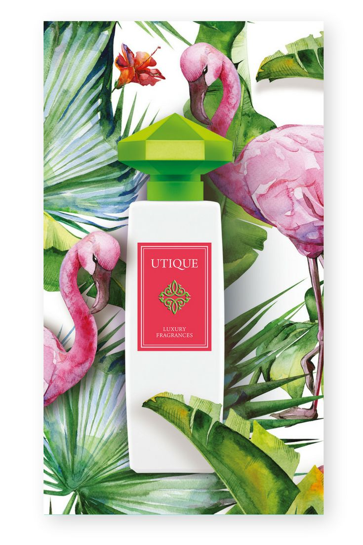 FLAMINGO - Utique Parfum Type: charming, seductive like a forbidden fruit Fragrance Family: Floral  Fragrance notes: Head notes: Rosa Mosqueta, blackberry sorbet, green notes Heart notes: Damask Rose, jasmine, apricot Base notes: woody notes, crystal rose chord, musk