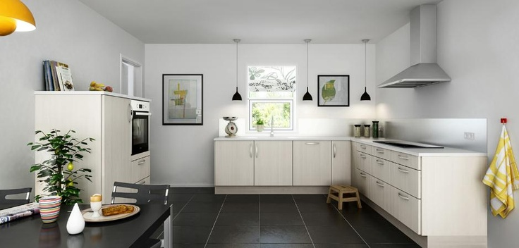 Superlækkert åbent køkken i lys ask - Modena Ask  Aubo køkken