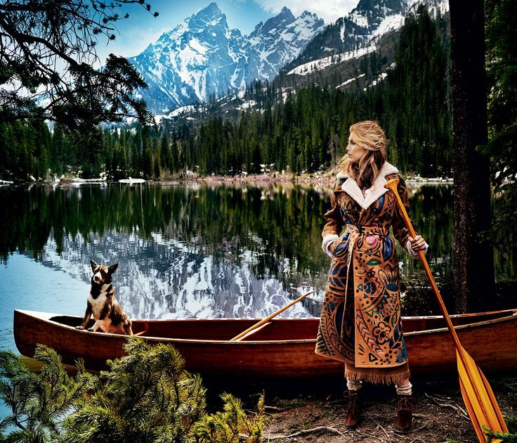 """Blake Lively, hippie ring coat Reflective Moment - & ldquo;Everything we do in life we do together,"""" Lively, on String Lake, says of husband Ryan Reynolds. Burberry Prorsum hand-painted bonded-sheepskin trench coat. Alberta Ferretti camel wool skirt with fringe."""