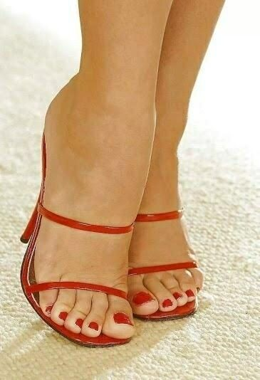 Red Strappy Mules And Great Feet  Talons  Pinterest -5994