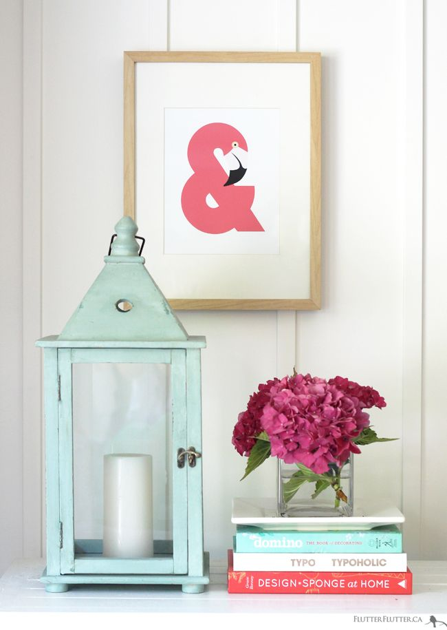 Flutter Flutter Vignette: Ampersand Flamingo Print (Etsy), lantern, hydrangeas.
