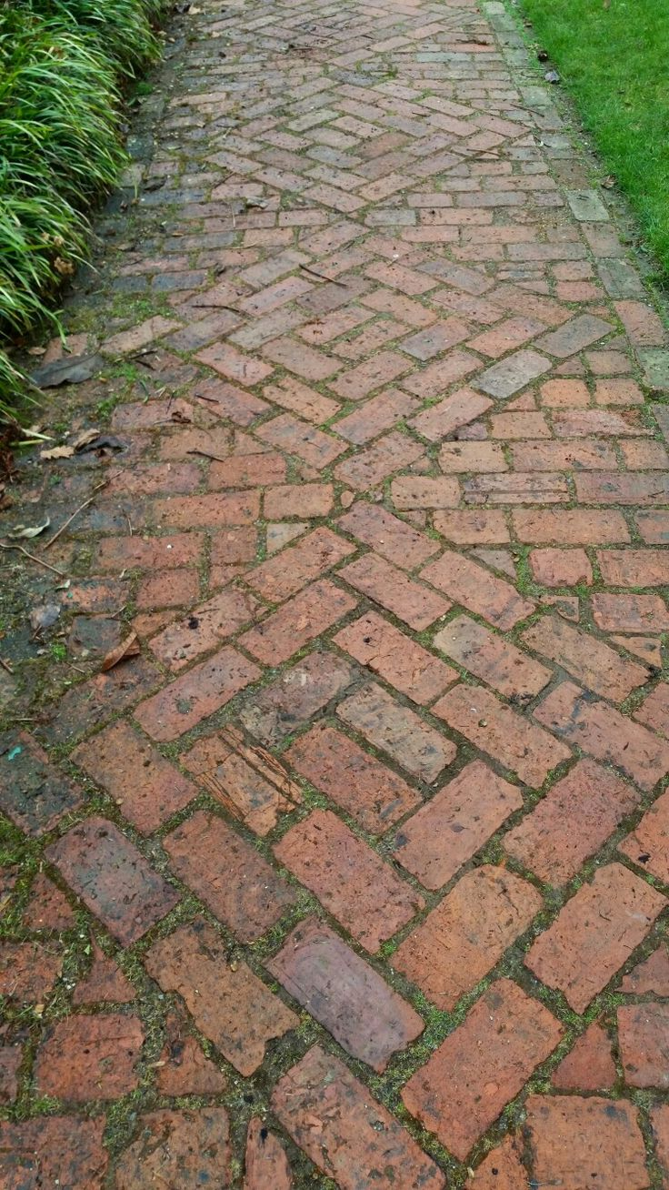 Stock photos backyard landscaping stone walkway images frompo - Reclaimed Brick Sidewalk Edgingsidewalk Landscapingsidewalk Ideaslabyrinth Gardenbrick