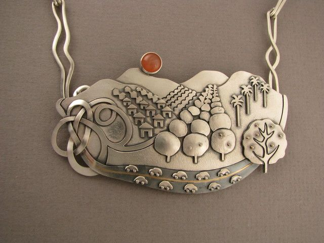 A Day in the Country, Pomona Valley 2007 Ahlene Welsh - necklace  sterling silver, 14 k and 18 k gold, peach moonstone