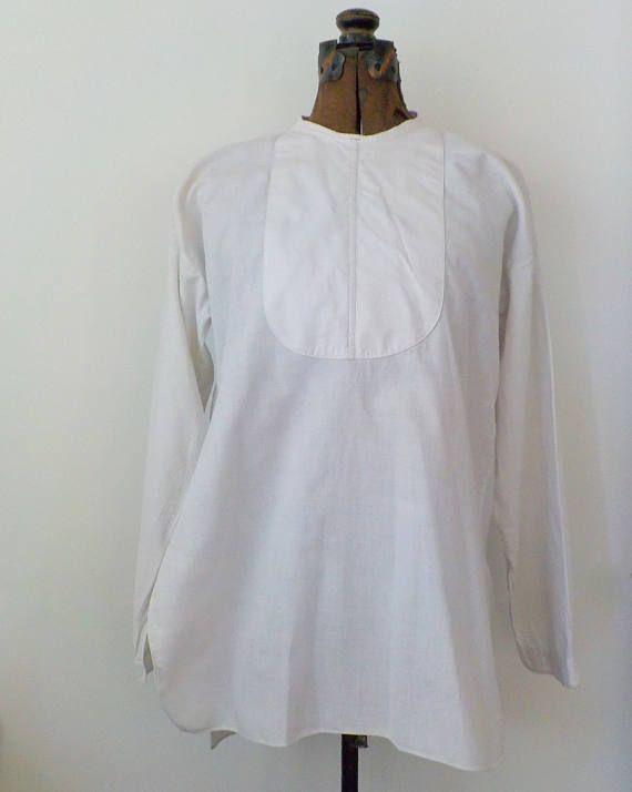 Antique Men's Bib Front Tux Shirt  Vintage White Cotton