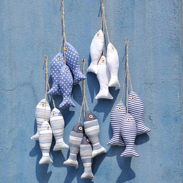 Mediterranean Style Cloth Fish Hanger 5String/SET bunch Nautical Decor 3D Sticker For Wall Hanging Gift Crafts