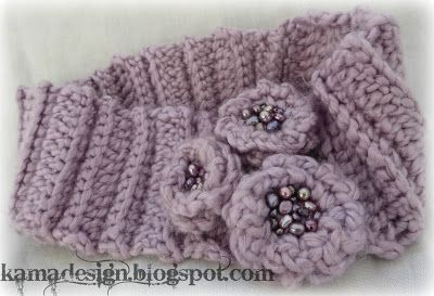 Lavender crocheted headband with freshwater pearls