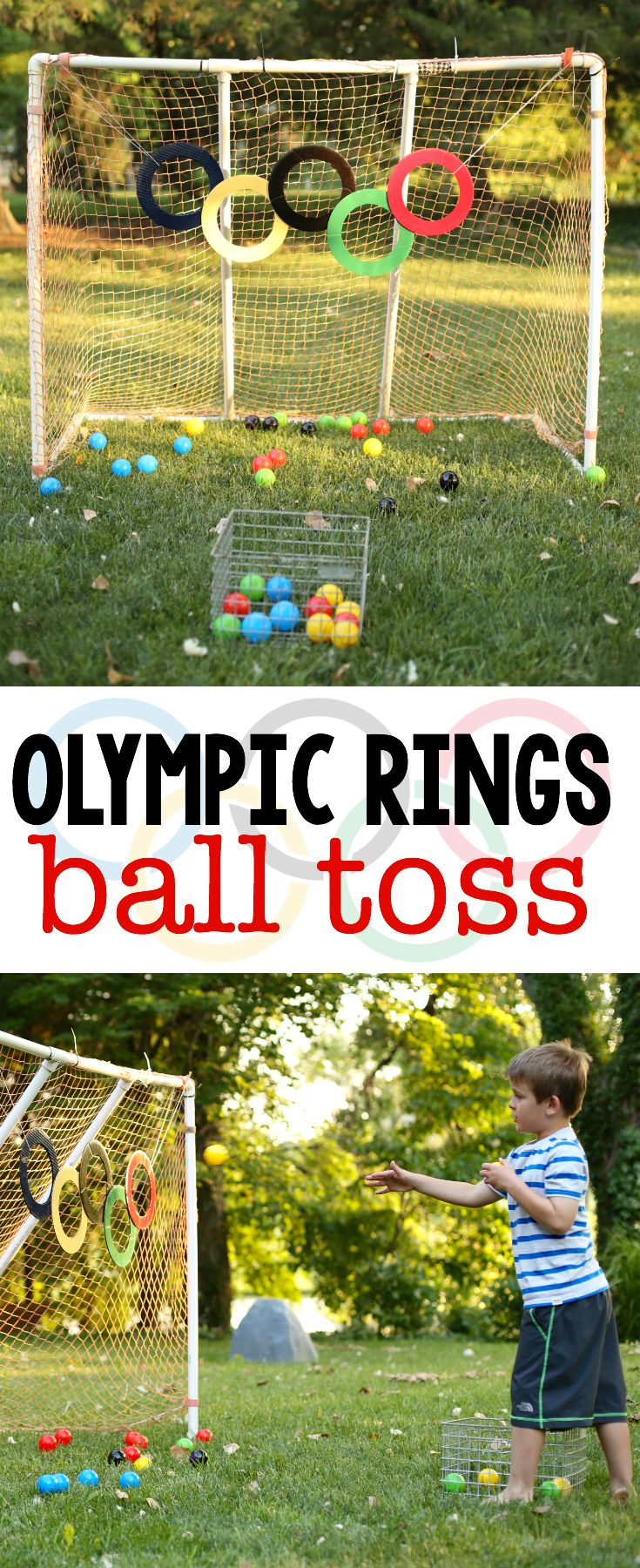 Get Olympic-ready by practicing your  gross motor skills by playing Olympic rings ball toss.