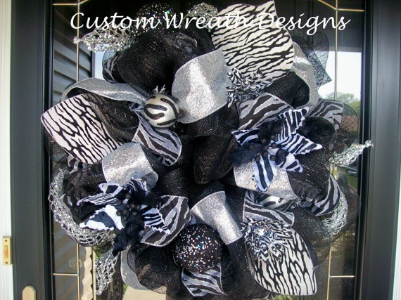 Black and Silver Zebra Wreath by lilmaddydesigns on Etsy, $115.00