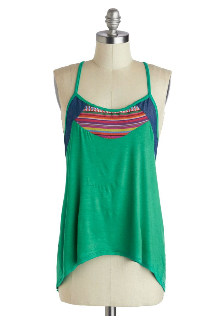 Beats the Heat Top. You cant control the weather, but you can feel cool all over as you sway to awesome tunes in this green top! #green #modcloth