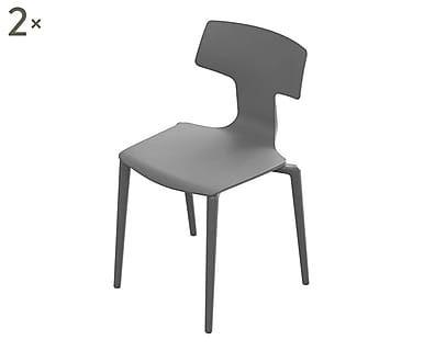Set di 2 sedie in plastica Split grigio caldo - 49x78x48 cm