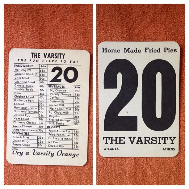 vintage table number and menu from The Varsity: Graphic Design, Restaurant Design, Menu, Vintage Table Numbers