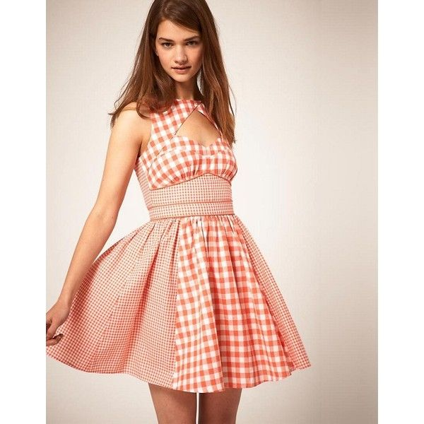 ASOS Summer Dress in Gingham Check ($20) ❤ liked on Polyvore featuring dresses