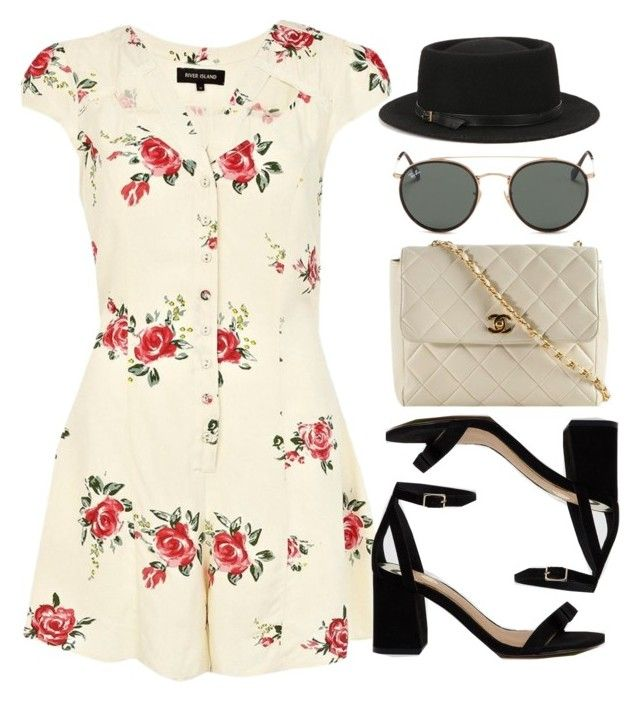 """""""Sin título #12896"""" by vany-alvarado ❤ liked on Polyvore featuring River Island, Deena & Ozzy, Chanel and Ray-Ban"""