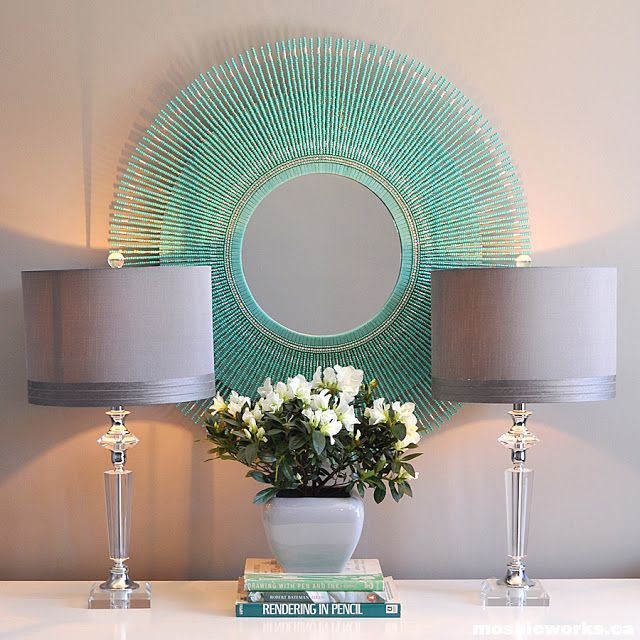 turquoise bead mirror crafts diy pinterest