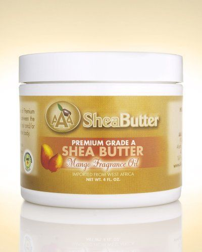 100% Unrefined Certified Grade A Shea Butter with a Hint of Mango Fragrance Oil 4 oz. By AAA Shea Butter by AAA Shea Butter Company By AAA Shea Butter. $12.50. Dry Skin, Skin Rash, Skin peeling after tanning, Itchy skin. Blemishes and wrinkles, Sunburn, Skin cracks, Insect bites. Stretch mark prevention during pregnancy, Eczema, Dermatitis. Tough or rough skin (on feet), Frost bites, Healthy skin. ALL SHEA BUTTERS ARE NOT EQUAL!   100% Pure & Natural Shea Butter is an all-...