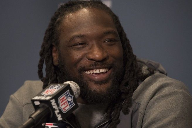 It appears LeGarrette Blount got word of Marshawn Lynch reportedly being interested in Patriots. (Michael Madrid/USA Today Sports)