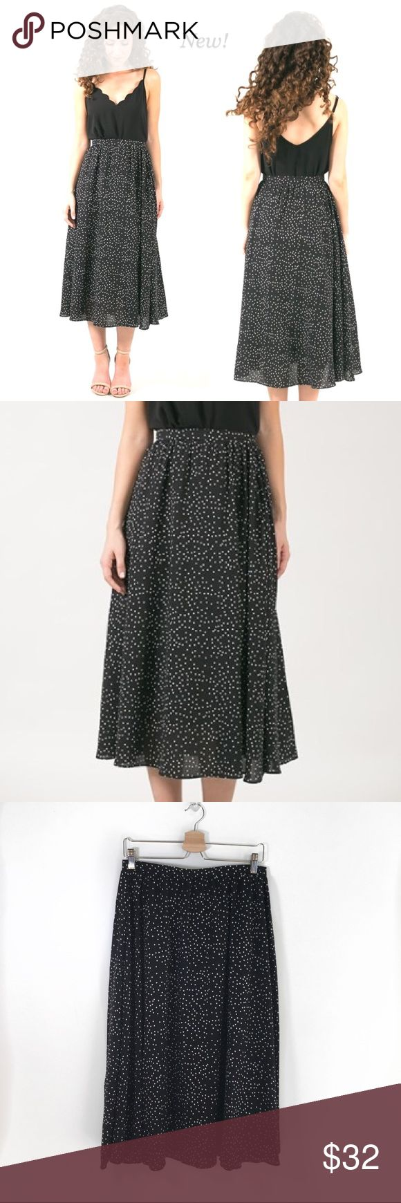 """Dot Print Midi Skirt - NEW with Tag, Boutique Fun classic midi skirt in black and white dot! Great year around wardrobe piece to pair with message tees, sweaters or denim buttonup for never ending outfit options. Runs SMALL- see waist measurement for true size. Side zip, fully lined. Tagged Medium fits like SMALL, 13.5"""" waist measured straight across so approx 27"""". Tagged XLarge FITS like Medium/LARGE, 14.5"""" waist straight across so approx 29"""" waist. Beautiful Boutique style NEW with tags…"""