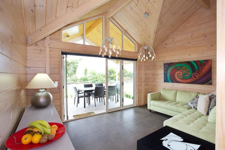 The blonded wood interior gives the home a very light and airy space.