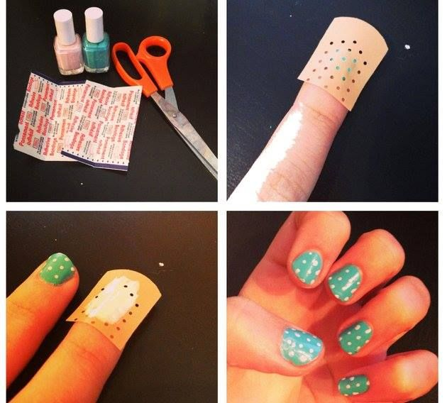 How to Use a Band aAid to Create Dots for Nail Polish | www.FabArtDIY.com