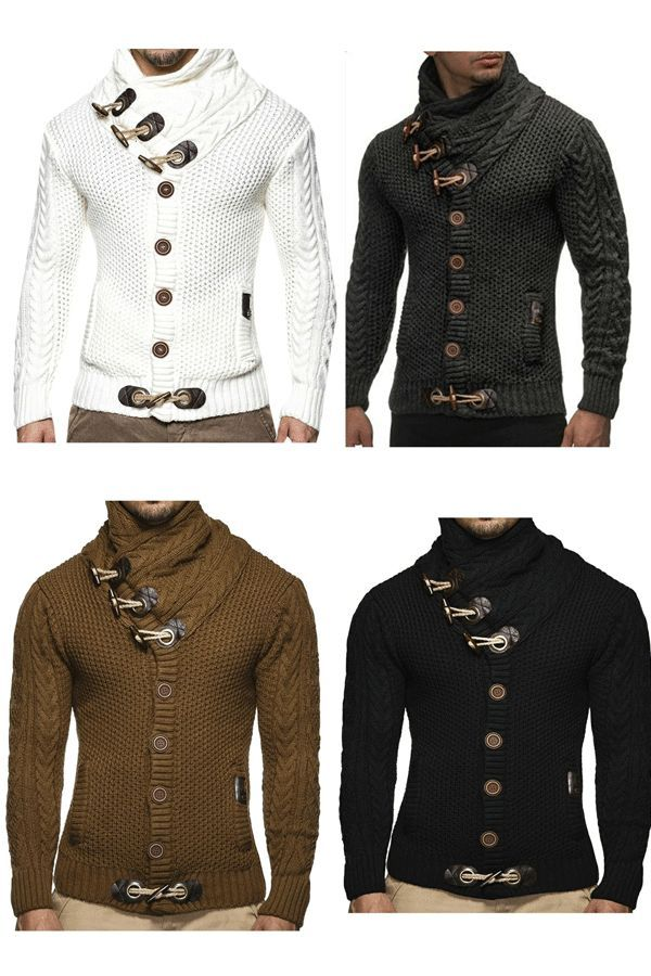 Plain Shawl Neck Button European Style Mens Sweaters | Mens Fashion ...