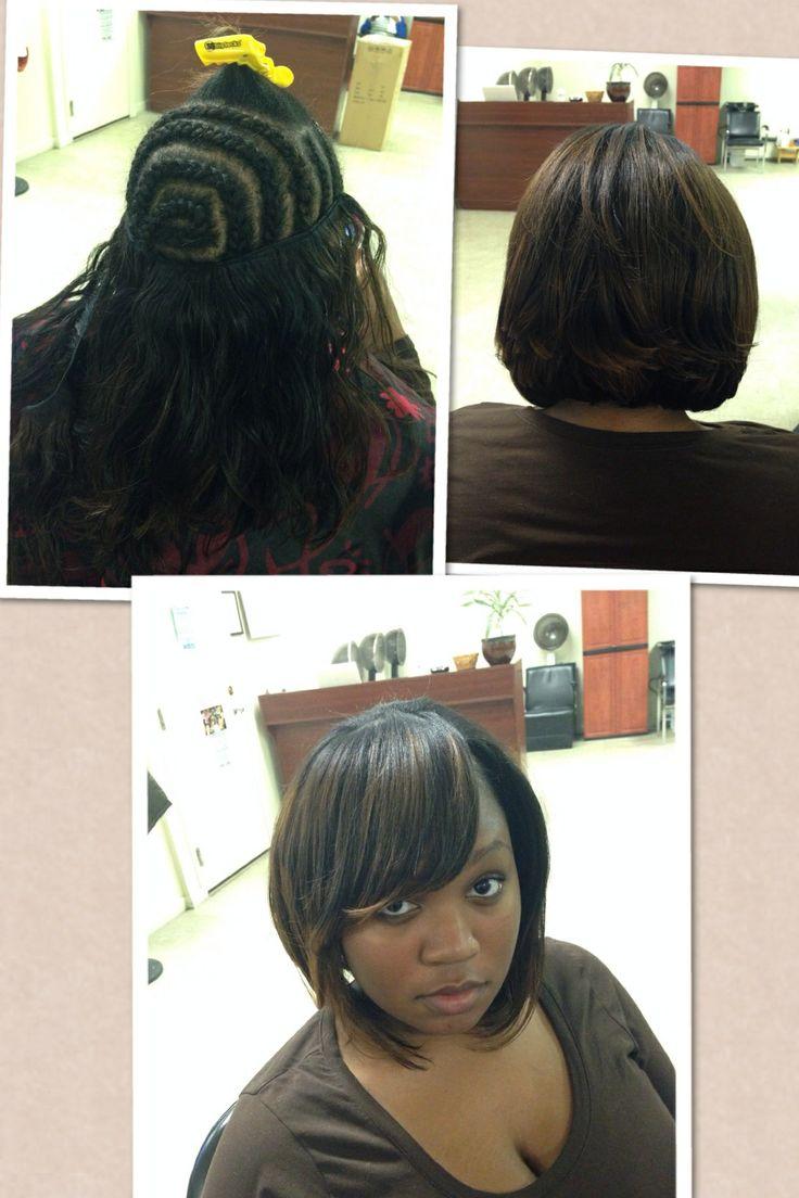 #hairanjel #weave #full #sewin Cut Into A #layered #bob #