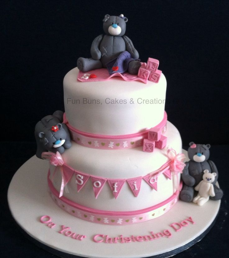 Me to you tatty teddy girl christening cake