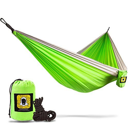 Bear Butt Double Parachute Camping Hammock, Lime Green / Gray. For product & price info go to:  https://all4hiking.com/products/bear-butt-double-parachute-camping-hammock-lime-green-gray/