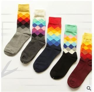 The new happy socks with a British style sub gradient stockings fashion classic casual socks sokker sockken for men