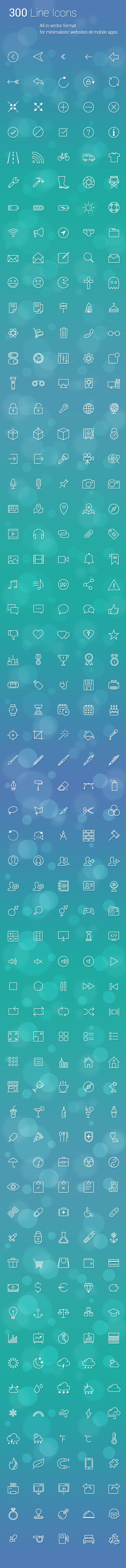 300 Line Icons on Behance