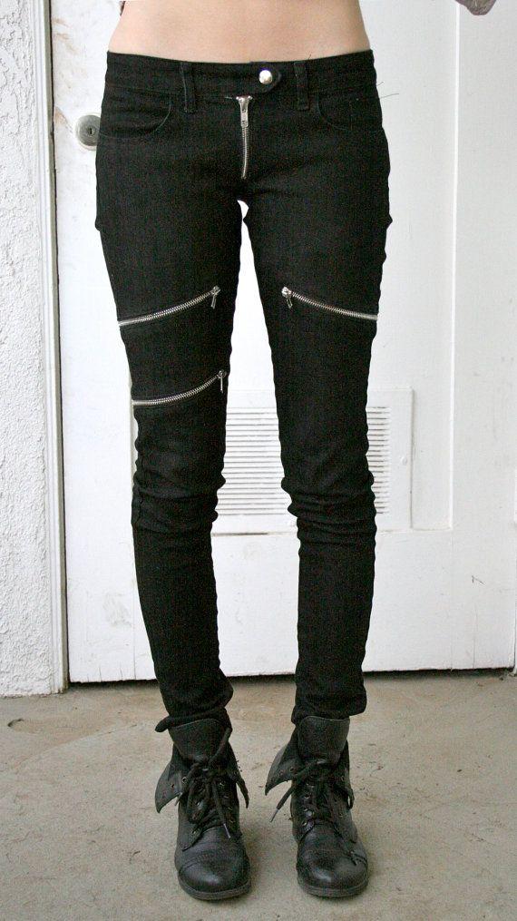 Skinny Black Denim Jeans with Zippers by BoneBlack on Etsy, $218.00