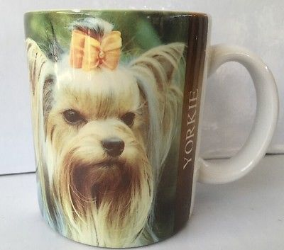 YORKIE YORKSHIRE TERRIER COFFEE TEA CUP MUG YELLOW BOW CREAM BROWN EGUC