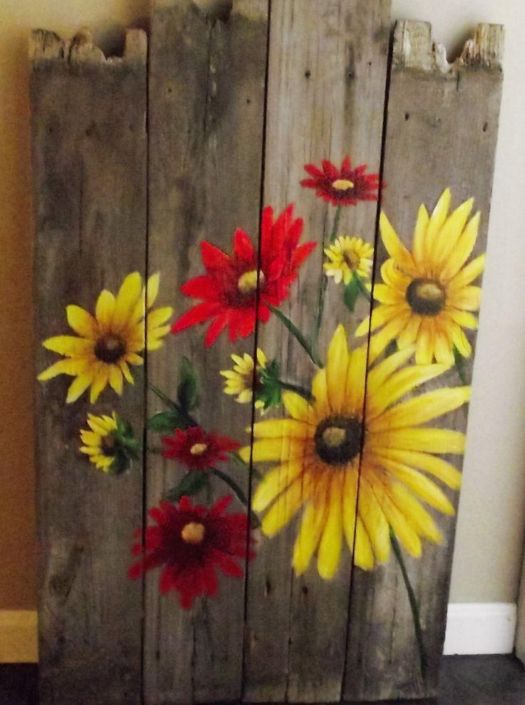 Hand painted flowers on barnwood Fence art Garden art